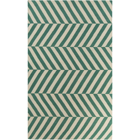 3.5' x 5.5' Aeonian Chevron Ribbons Pearl White and Turquoise Green Hand Woven Wool Area Throw -