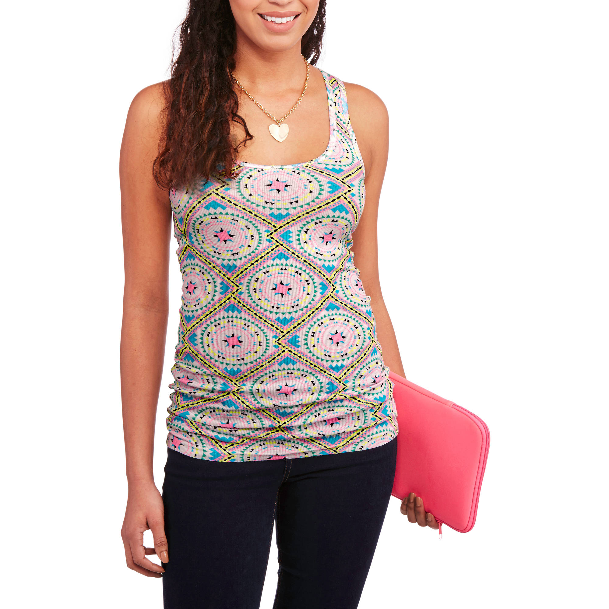 No Boundaries Juniors Graphic Racerback Ribbed Tank