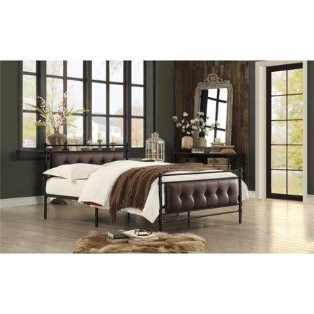 Home Elegance 2050F-1 35.5 x 24.5 in. Full Size Jayla Metal Platform Bed - Black &