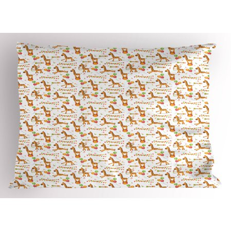 Giraffe Pillow Sham Circus Pattern with Playful Cartoon Characters Colorful Flags Balloons Hula Hoops, Decorative Standard Size Printed Pillowcase, 26 X 20 Inches, Multicolor, by Ambesonne](Circus Characters)