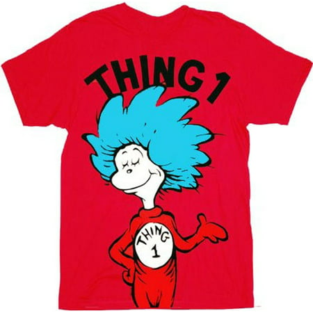 Dr. Seuss Thing 1 Adult Red T-shirt - Dr Seuss Clothing For Kids