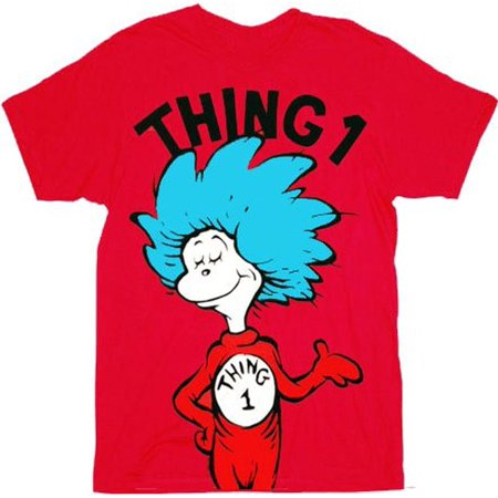 Dr. Seuss Thing 1 Adult Red T-shirt (Thing One And Thing Two Baby Shirts)