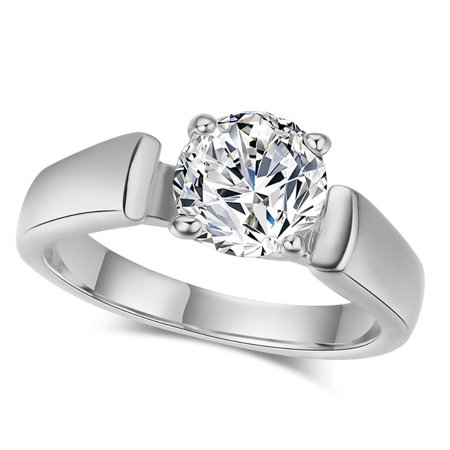 8mm Trillion Prong Ring Setting - Ginger Lyne Collection 8mm Solitaire 4 Prong Engagement Ring