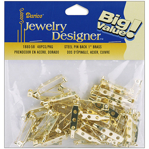 "Pin Backs, 1"" 48pk, Gold"