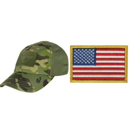 96b44c0174bfe Condor Cap Mesh MultiCam Tropic + USA FLAG PATCH RED WHITE BLUE LEFT -  Walmart.com