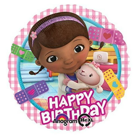 17 Inch Doc McStuffinHappy Birthday Balloon with Lambie Disney Junior Party Girl One per order - Special Order Balloons