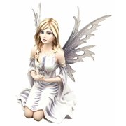 Large Winter Solstice Purity Fairy With Crystal Sphere Statue Figurine Goddess Deity Home - Winter Fairies