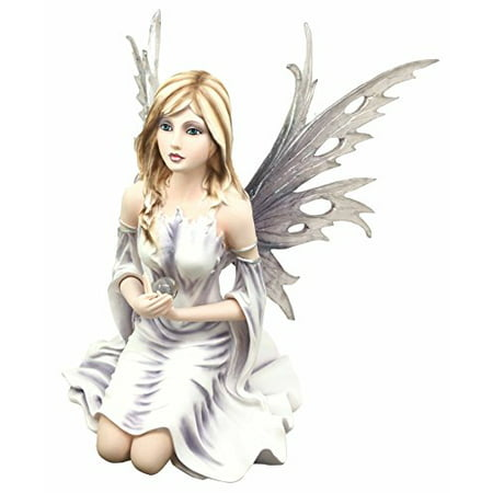 Large Winter Solstice Purity Fairy With Crystal Sphere Statue Figurine Goddess Deity Home Decor