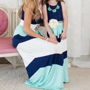 Mother and Daughter Casual Boho Stripe Maxi Dress Mommy&Me Matching Outfits