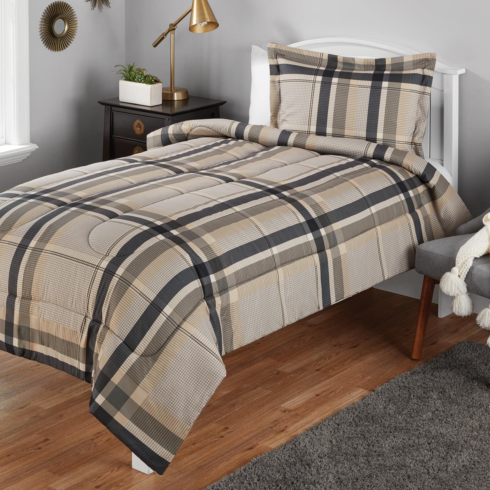 Mainstays Twin Or Twin Xl Plaid Printed Black Tan Comforter Mini Set 2 Piece Walmart Com Walmart Com
