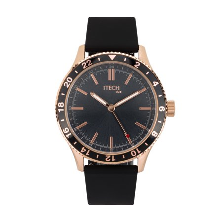 iTech Duo Silicone Strap Hybrid Smartwatch, Black/Rose Gold