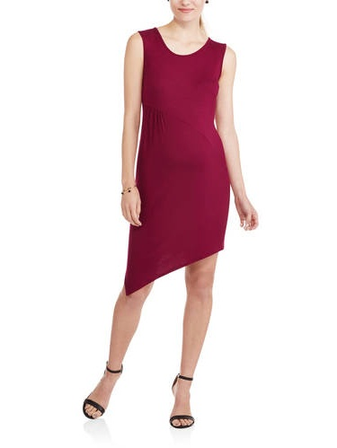 Maternity Sleeveless Crew Neck Fitted Asymmetrical Dress