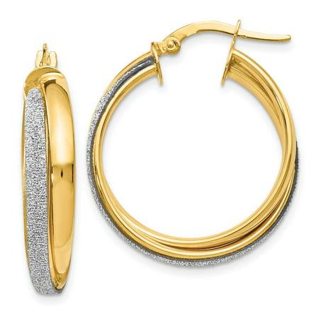 14k Yellow Gold Twisted Polished Hinged hoop Fancy Glitter Infused Hoop Earrings - 2.9 Grams (Polished Twist)
