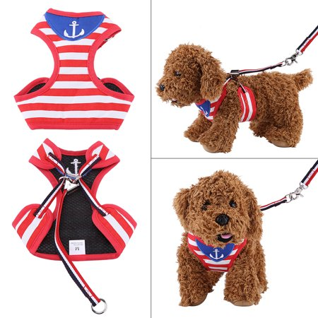 HERCHR Pet Walking Harness and Leash Kitty Puppy Clothes Harness Vest Jacket Navy Style, Pet Harness, Dog Cat Pet Leash Dog Harness Clothes Coat