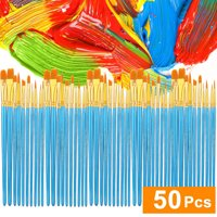 Acrylic Paint Brush Set 5 Packs/50 Pcs economic Nylon Hair Brushes For All Purpose Oil Wa