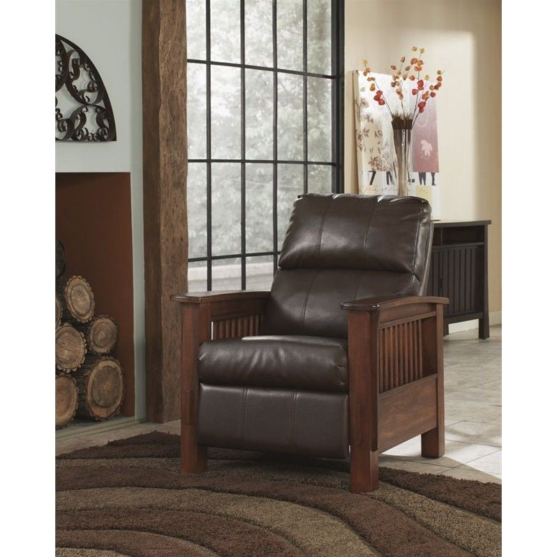 Ashley Furniture Sante Fe High Leg Faux Leather Recliner In Bark