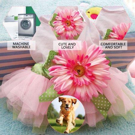 Spring Summer Pet Dog Dress Clothes With Big Sunflower Cute Princess Skirt Wedding Ball Gown Party Dress Pet Supplies - image 6 de 7