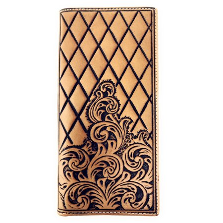 Genuine Leather Basketweave Floral Tooled Diamond Shaped Mens Long Bifold - Basketweave White Leather