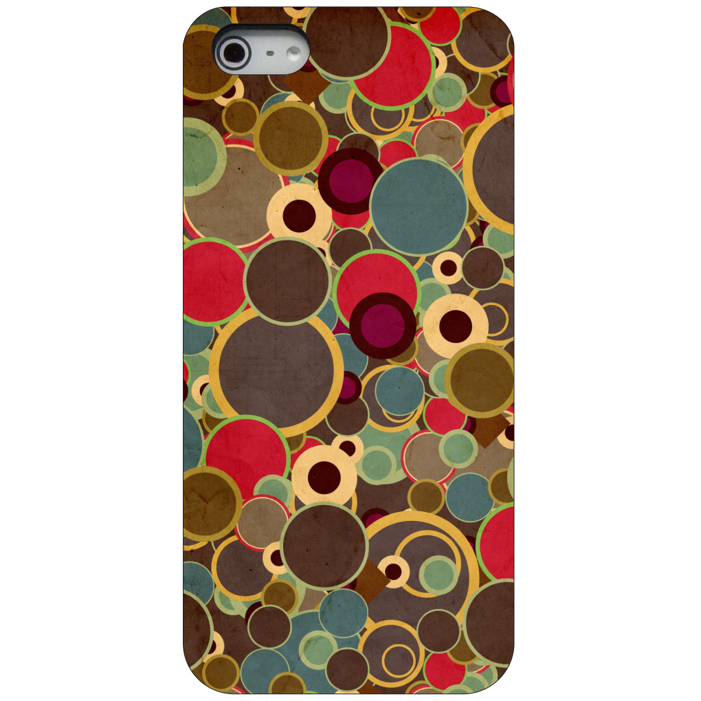 CUSTOM Black Hard Plastic Snap-On Case for Apple iPhone 5 / 5S / SE - Brown Red Yellow Circles