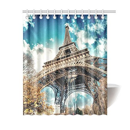 MYPOP Beautiful Colors Of Eiffel Tower And Sky Paris Fabric Bathroom Shower Curtain Set With