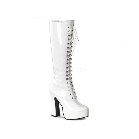 Wht Pat Pleaser Platforms (Exotic Dancing) Knee High Boots Size: 11
