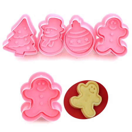 Jeobest Cookie Cutter Press Set - 4PCS Cookie Stamp Biscuit Mold 3D Cookie Plunger Cutter DIY Baking Mould for Fondant Cake/Biscuit Christmas Cookie Cutters - Halloween Fondant Plunger Cutters