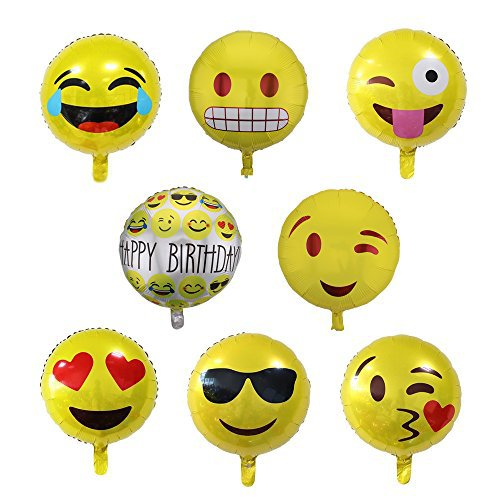 Zicome Set of 16 Round Emoji Mylar Balloon - 18 Inch - Unique Yellow Emoji Decorations for any Party
