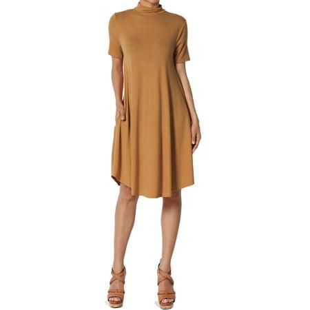 Mock Wrap Jersey Dress - TheMogan Women's Short Sleeve Mock Neck Jersey Fit & Flare Midi Dress W Pocket