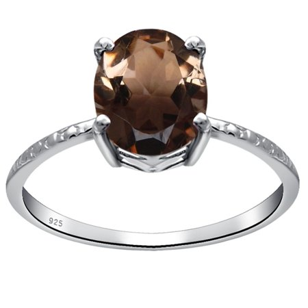 Orchid Jewelry 925 Sterling Silver 1.1 Carat Smoky Quartz Oval Cut Engagement Ring Size (Round Cut Smokey Quartz)