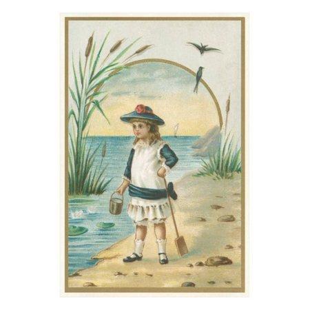 Little Victorian Girl at Beach Print Wall