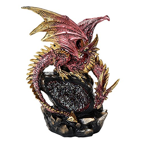 Double Headed Red Dragon On LED Lighted Geode Rock Cavern Figurine Tabletop Display