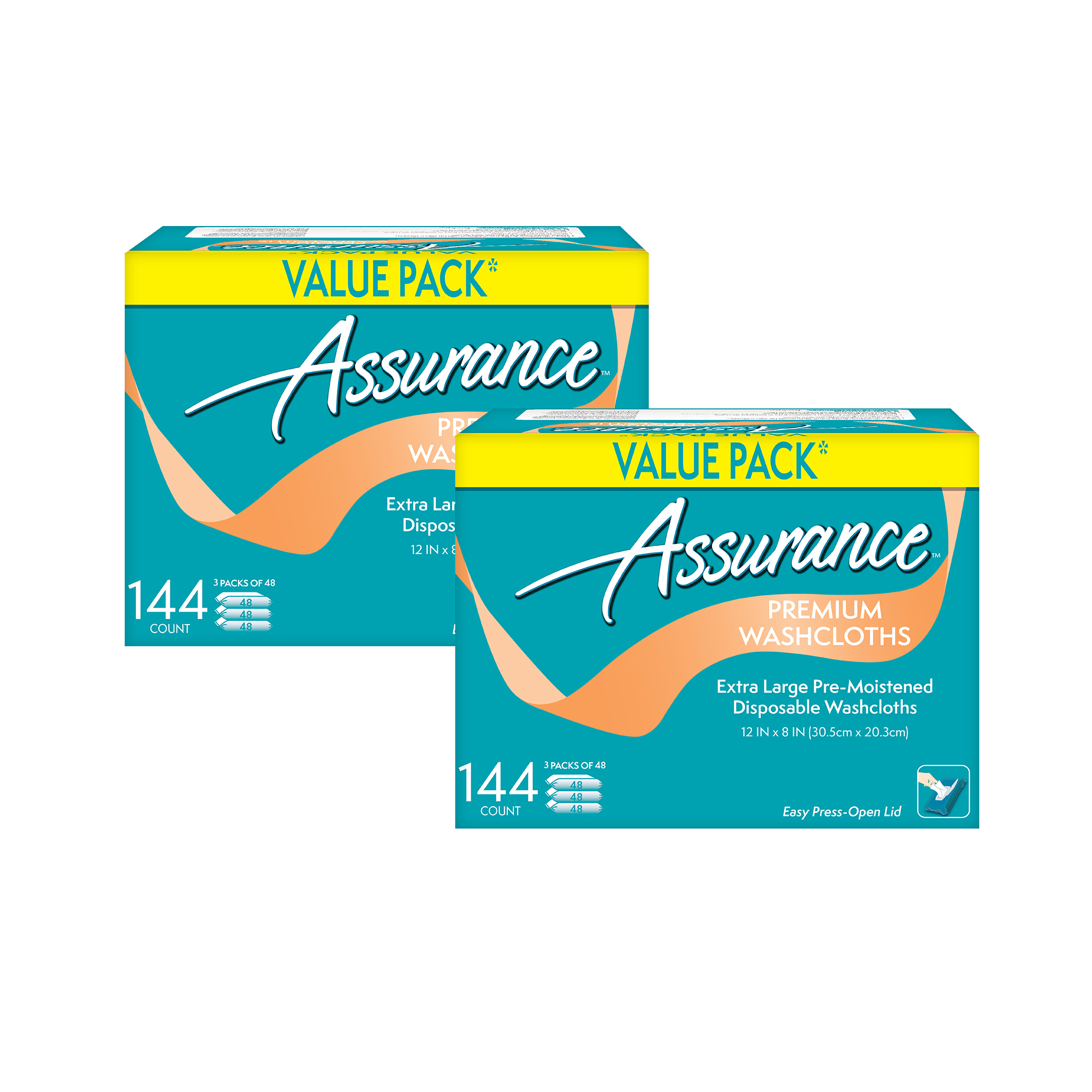 (2 Pack) Assurance Premium Extra-Large Disposable Washcloths, XL, 144 Ct