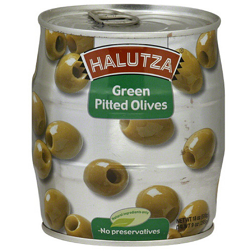 Halutza Green Pitted Olives, 18 oz, (Pack of 12)