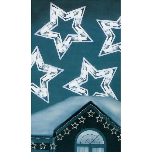 Set of 10 Clear Lighted Twinkling Star Icicle Christmas Lights - White Wire