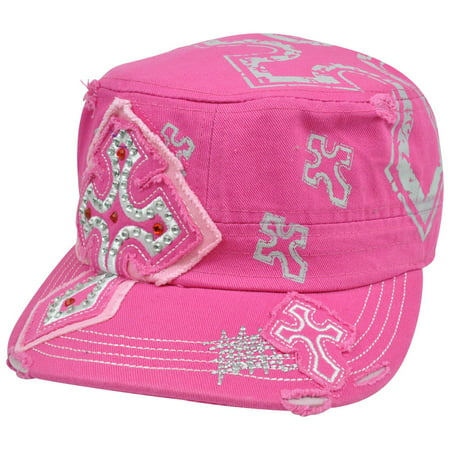 Fatigue Field Patrol Military Hat Castro Rhinestones Ripped Hot Pink Cross Cap