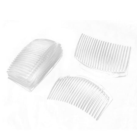 Women Plastic 23 Tooth Hair Comb Clip DIY Jewelry Accessories Clear 8 Pcs ()