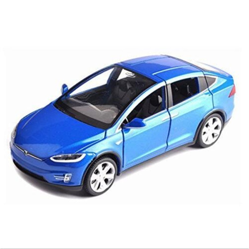 Tesla X90 Car Model Blue Model 1//32th Diecast Vehicle Toy Gift with Sound/&Light