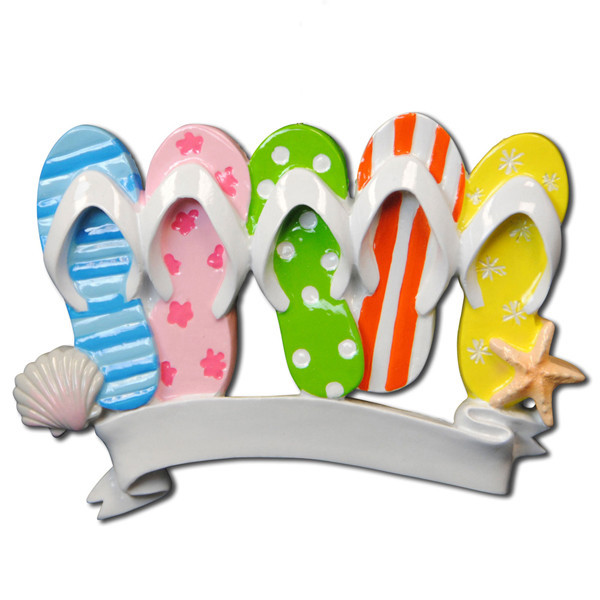 Flip FlopTravel Beach  Family of 5 Personalized Christmas Ornament DO-IT-YOURSELF