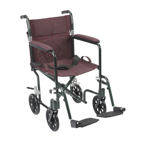 Drive Medical Flyweight Lightweight Folding Transport Wheelchair, 19