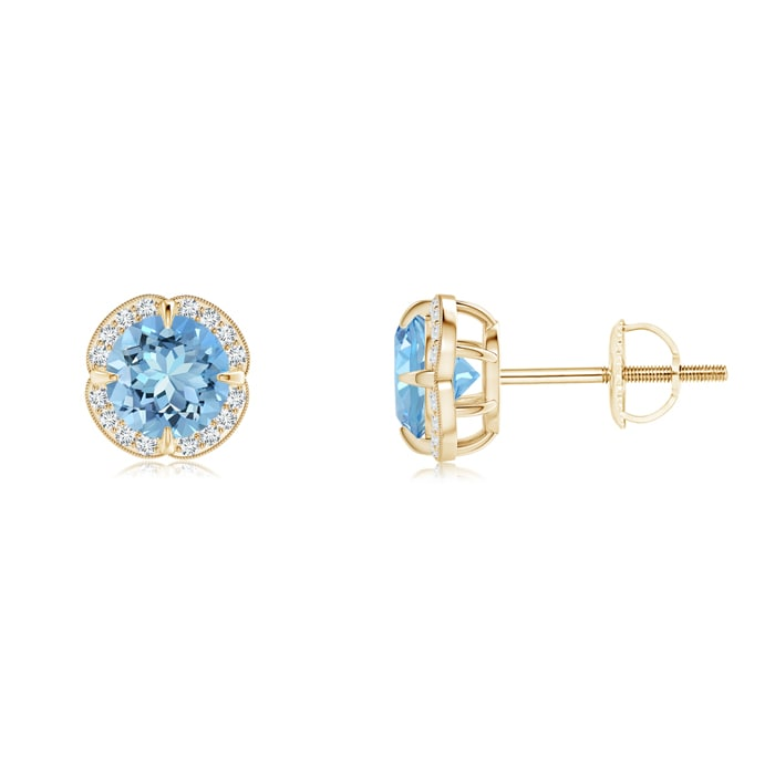 Angara Claw-Set Aquamarine Stud Earrings in 14k Yellow Gold 3YTnfd