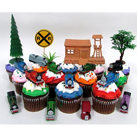 THOMAS THE TRAIN 12 Piece Birthday Cupcake Topper Set Featuring Thomas, Percy, James, Friends and Decorative Themed Accessories - Thomas The Train Cupcake Toppers