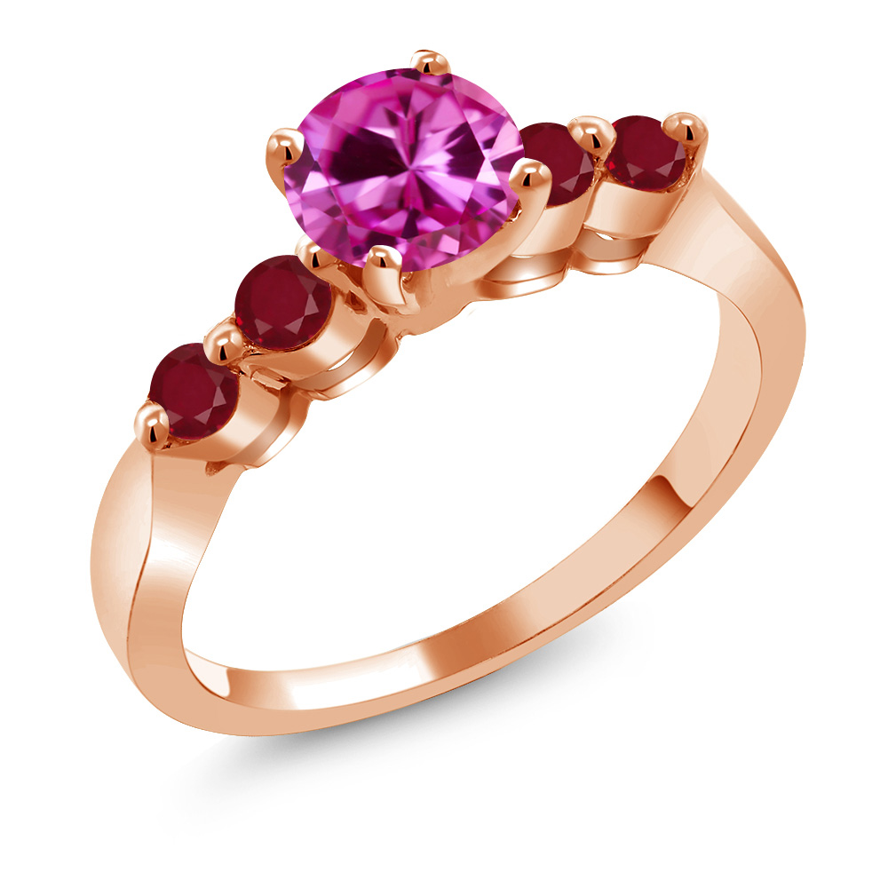 1.48 Ct Round Pink Created Sapphire Red Ruby 18K Rose Gold Engagement Ring by
