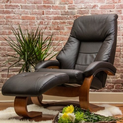 Mac Motion Oslo Leather Swivel Recliner in Espresso and Walnut Image 2 of 3 : oslo recliner - islam-shia.org