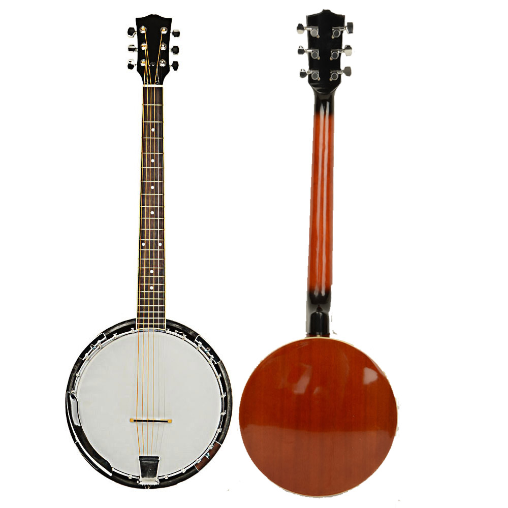 Zimtown 6 String Banjo Ukulele Uke Concert 38 Inch Size Sapele with 24 Brackets | Closed Back and Geared 5th Tuner