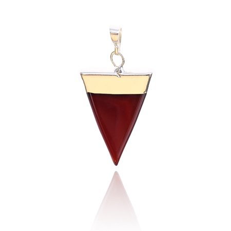 - Red Agate Triangular Pyramid  Chakra Gemstone Gold Plated Pendant
