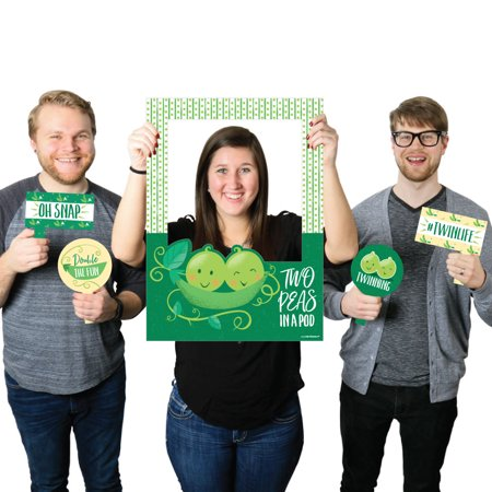 Double the Fun - Twins Two Peas in a Pod - Baby Shower or First Birthday Selfie Party Photo Booth Picture Frame & Props