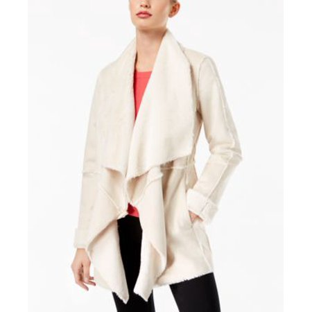 INC International Concepts Petite Faux Suede Draped Jacke Washed White PXL