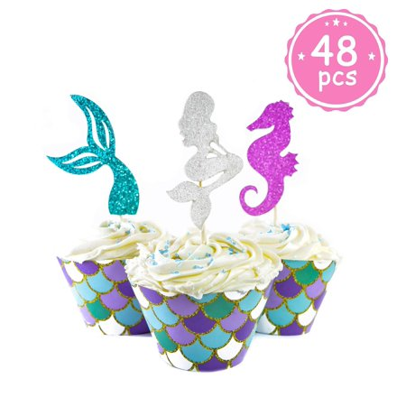 Mermaid Cupcake Toppers + Wrappers- 48 pcs- [Decoration for Little Mermaid Theme, Under The Sea Theme, Baby Shower Birthday Party Favors, Mermaid Tail, Seahorse Food Picks + Scale Cupcake Wrapper]](Under The Sea Baby Shower Theme)