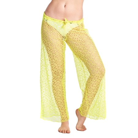 Gorgeous LACE Swimwear Cover up Beach Pants NEON YELLOW