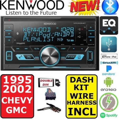 FITS 1995-2002 CHEVY GMC TRUCK SUV KENWOOD AM/FM USB/BLUETOOTH CAR RADIO STEREO PKG WITH OPT SIRIUSXM SATELLITE RADIO.  INCL.  VEHICLE SPECIFIC INSTALLATION  DASH KIT, WIRE HARNESS, ANTENNA (Vehicle Specific Harness)